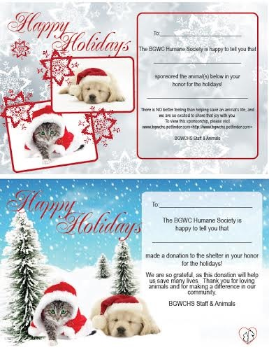 make a donation to the bgwc humane society or sponsor an animal and well send your friend or family member a holiday card - Humane Society Christmas Cards